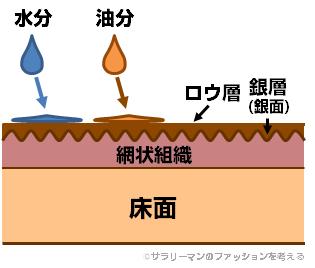靴を磨いた状況では水分/油分が浸透しづらい