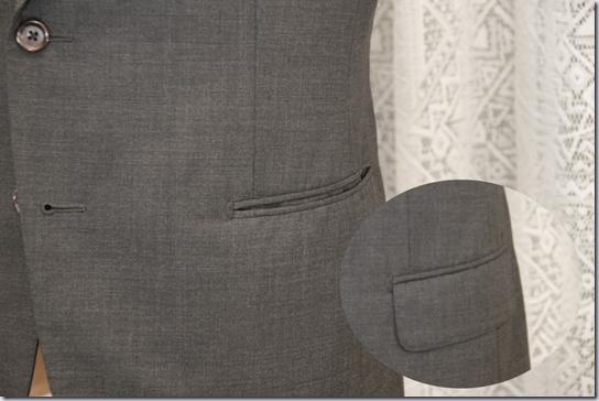 スーツのポケットフラップ